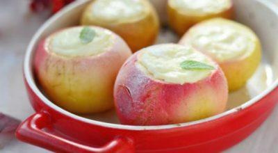 Волшебный десерт из запеченных яблок с творожной начинкой