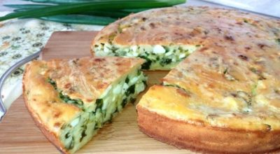 Изумительный пирог на кефире с яйцом и зеленым луком