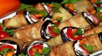 Не закуска, а объедение — острые рулетики из баклажанов «Тещин язык»