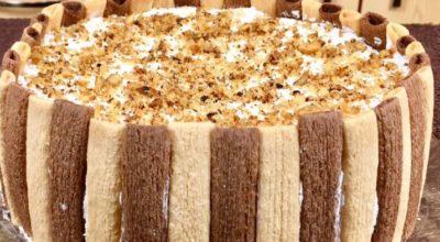 Быстрый торт без выпечки «Тропикана»: из печенья бамбук
