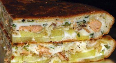 Рыбный заливной пирог с картошкой. Тесто нежное, начинка сочная!