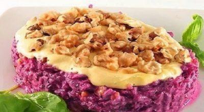 Салат «Любимый» (со свеклой, сыром и орехами)