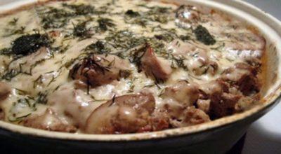 Гречка запеченная с грибами и куриной печенью
