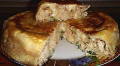 Очень вкусный пирог на кефире с курицей. Готовится легко и быстро