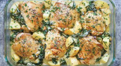 Курица с картофелем, запеченная в болгарском соусе