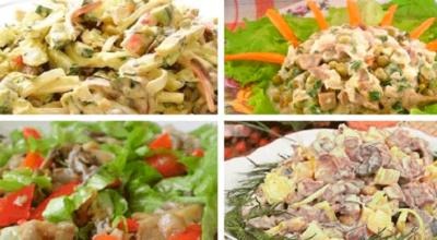 Грибные салатики на любой вкус. Подборка из 10 рецептов