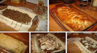 Быстрый и вкусный мясной пирог с грибами