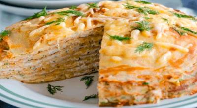 Обалденный блинный торт с курицей и грибами