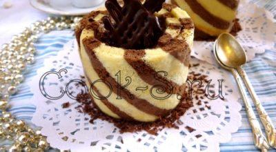 «Полосатое» пирожное с кофейным муссом