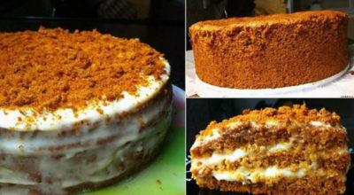 Нежный бисквитный торт «Медовый». Вкусный и приготовить легко