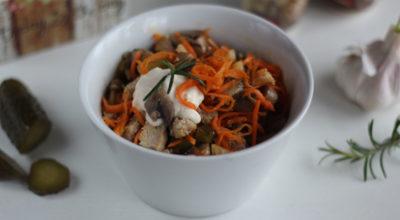Салат «Обжорка» с мясом и корейской морковью: пошаговый рецепт с фото