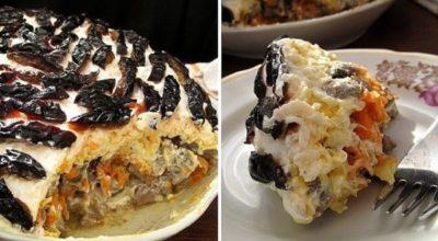 Слоеный салат с печенью, грибами и черносливом. БЕЗ МАЙОНЕЗА