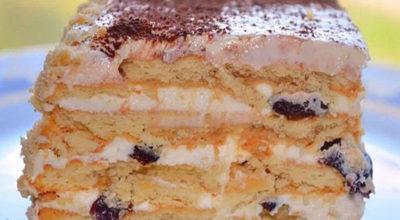 Бесподобный торт без выпечки из печенья. Эта начинка вскружит тебе голову