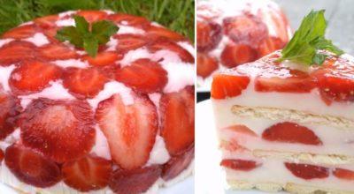 Привезла с дачи корзину клубники, приготовили вчера самый летний десерт. На всё про всё — 30 минут, 300 г ягод и 100 г печенья