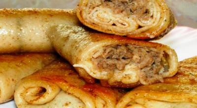 Домашние блинчики с мясом потрясающего вкуса