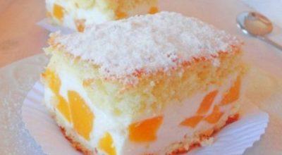 Нежный тортик с воздушным кремом из творога, взбитых сливок и персиков
