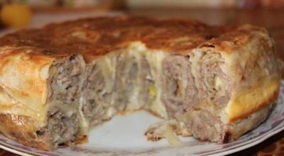 Вкусный пирог с мясом «Лаваш в нежной заливке»