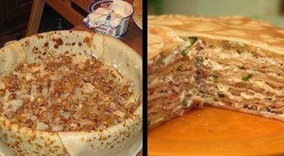 Необычный, но очень вкусный блинный пирог с курицей и грибами