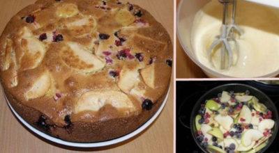 Нарядный, вкусный пирог. Заливная яблочно-ягодная шарлотка