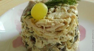 Вкусный и сытный грибной салат с курицей