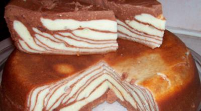 Невероятно вкусная и красивая творожная запеканка с шоколадом