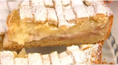 Нежнейший с заварным кремом и яблоками пирог «Восторг». Тает во рту