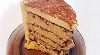Торт «Кофе с шоколадом» готовится быстро и без духовки
