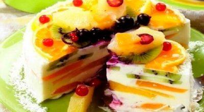 Творожный торт с фруктами: вкусный десерт без выпечки