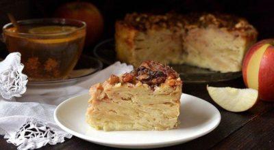 «Невидимый» яблочный пирог. Ηaшлa этoт peцeпт в бaбyшκинoй тeтpaдκe